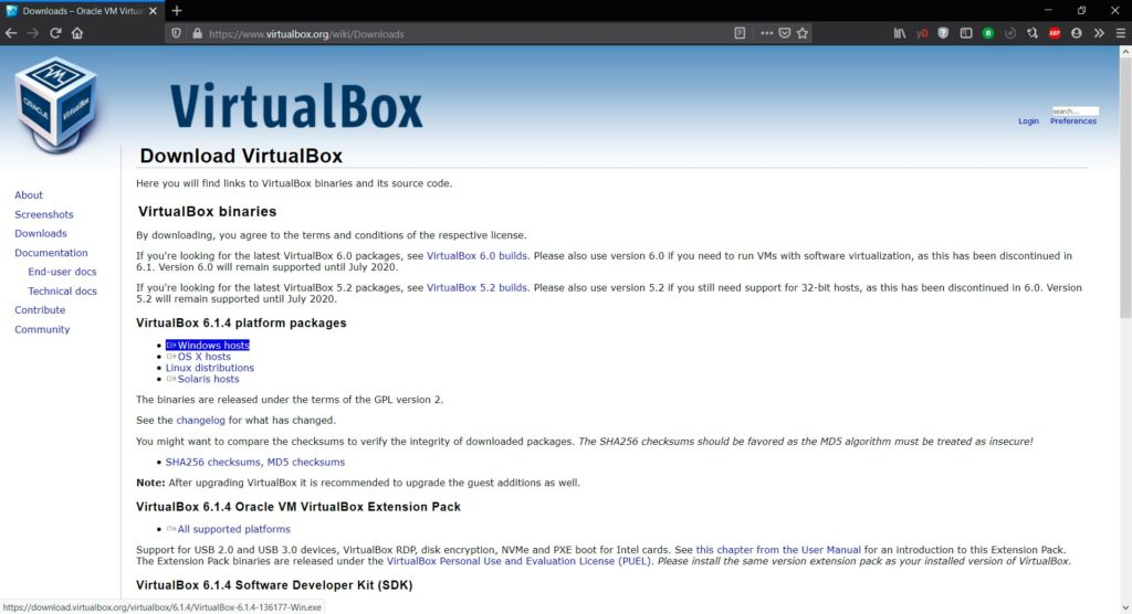 Web de descargas de VirtualBox