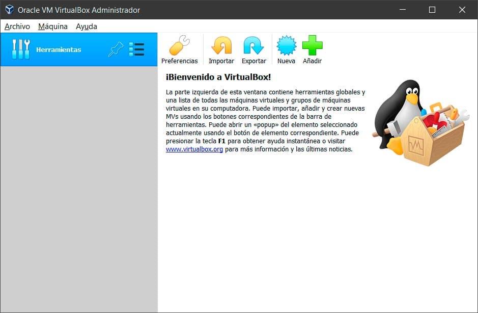 Interfaz de VirtualBox