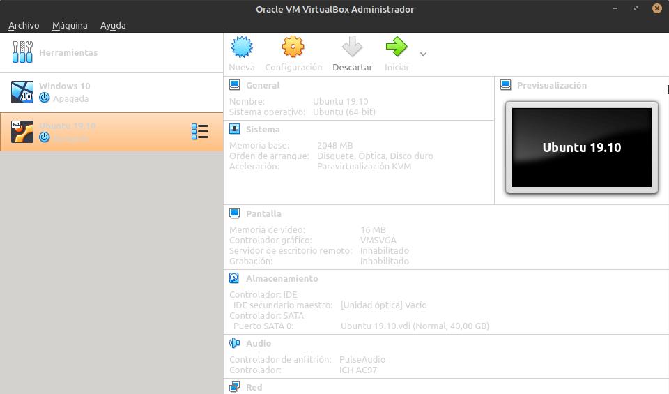 Vista con varios Sistemas operativos instalados en VirtualBox
