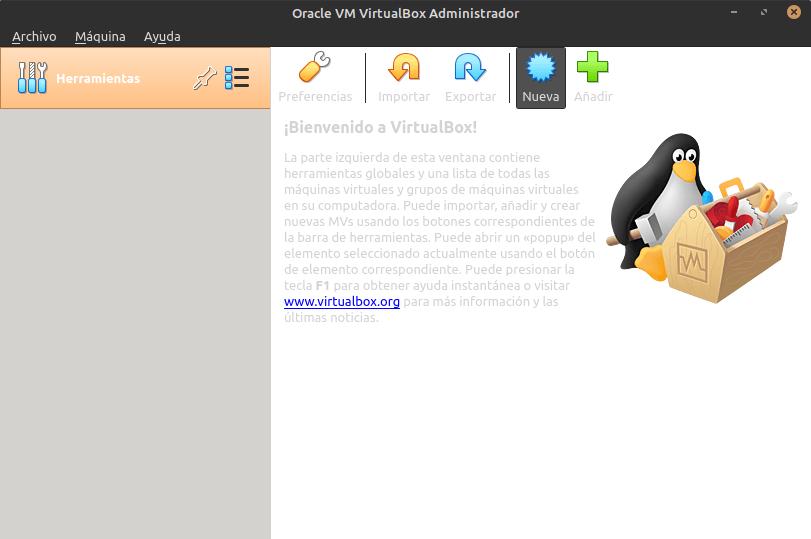Interfaz VirtualBox