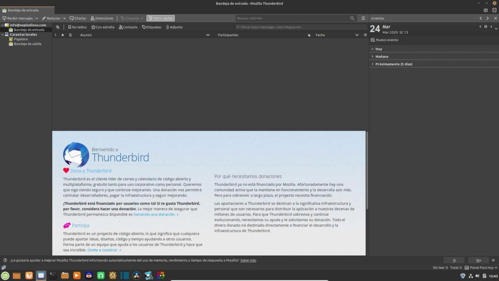Interfaz de Mozilla Thunderbird