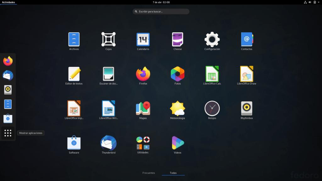 Programas predeterminados de Fedora 31