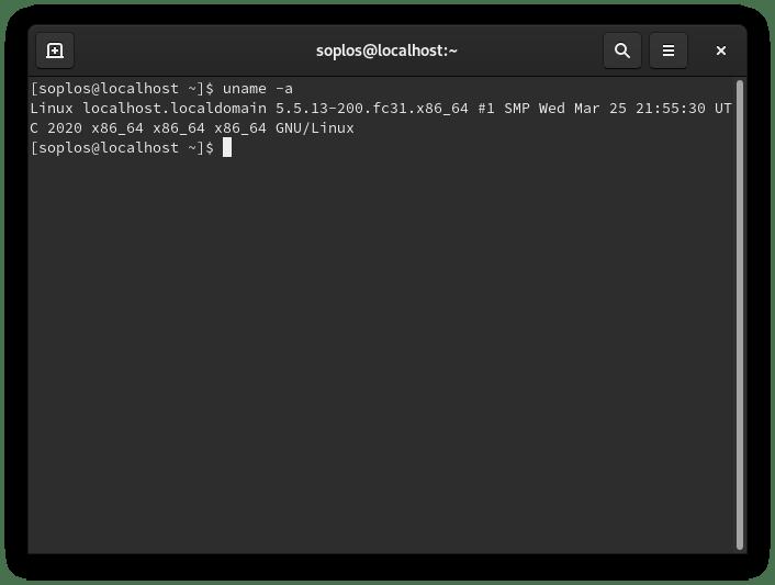 Vista de kernel de Fedora 31