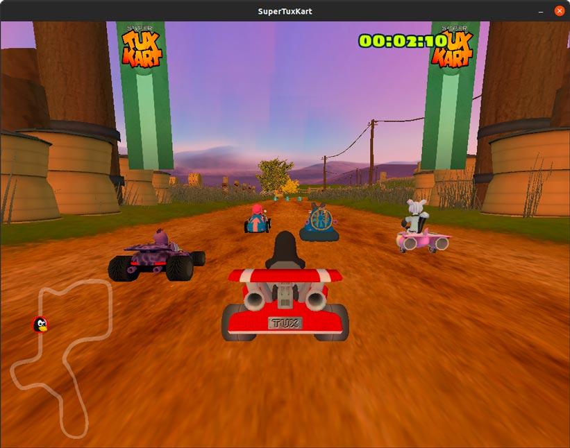 Carrera contra IA en Súper Tux Kart