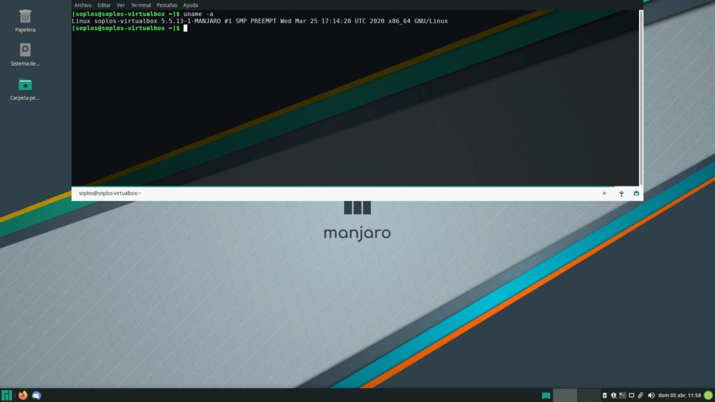 Terminal y versión de kernel de Manjaro