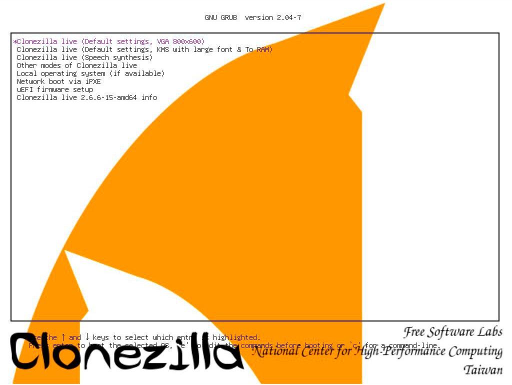 Sistema de arranque de Clonezilla