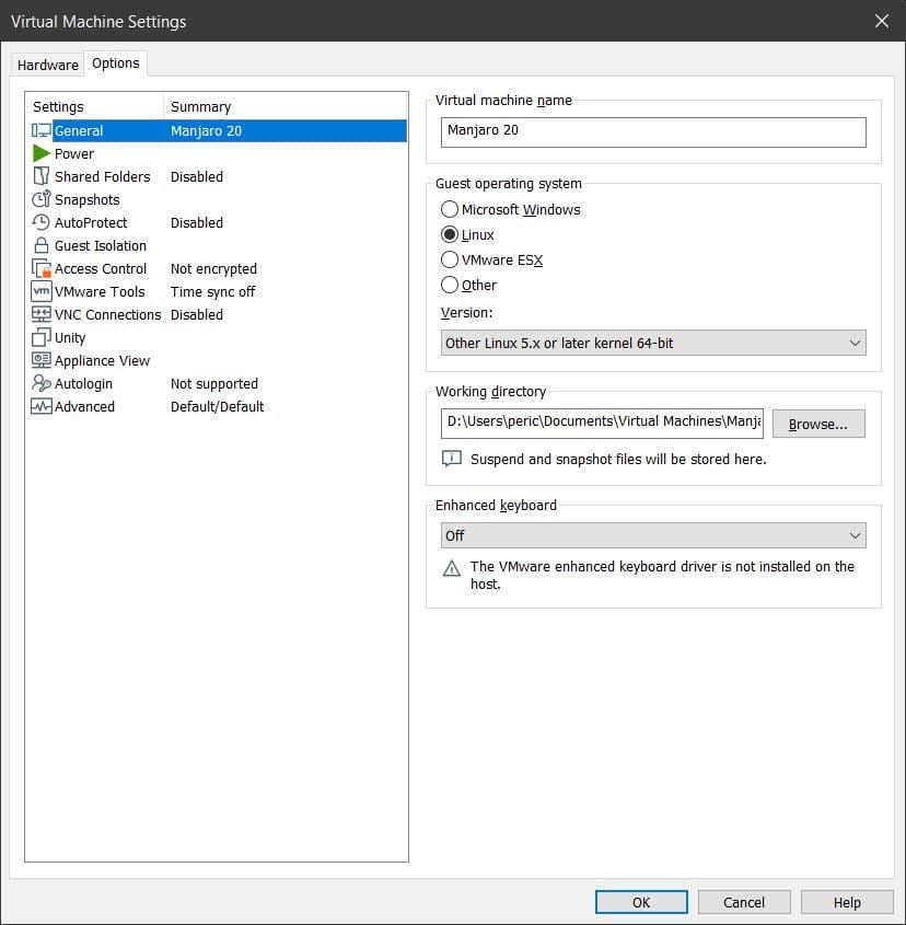 Opciones VMware