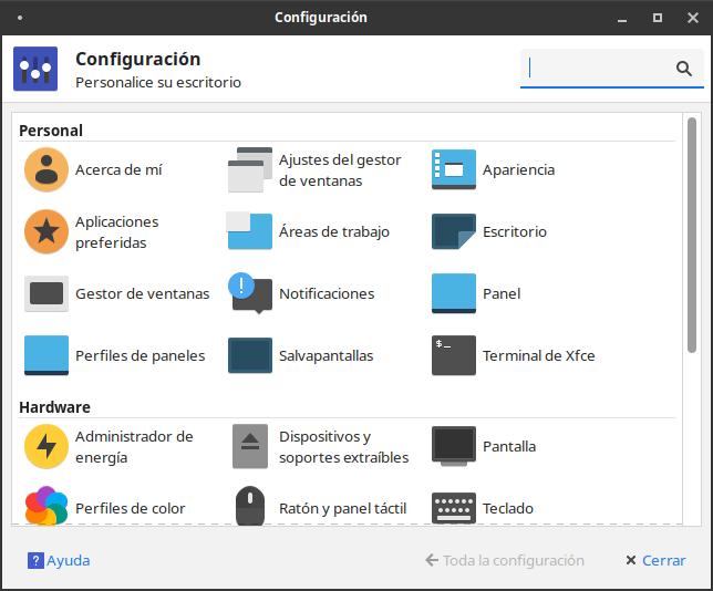 Panel de control de Ubuntu Studio