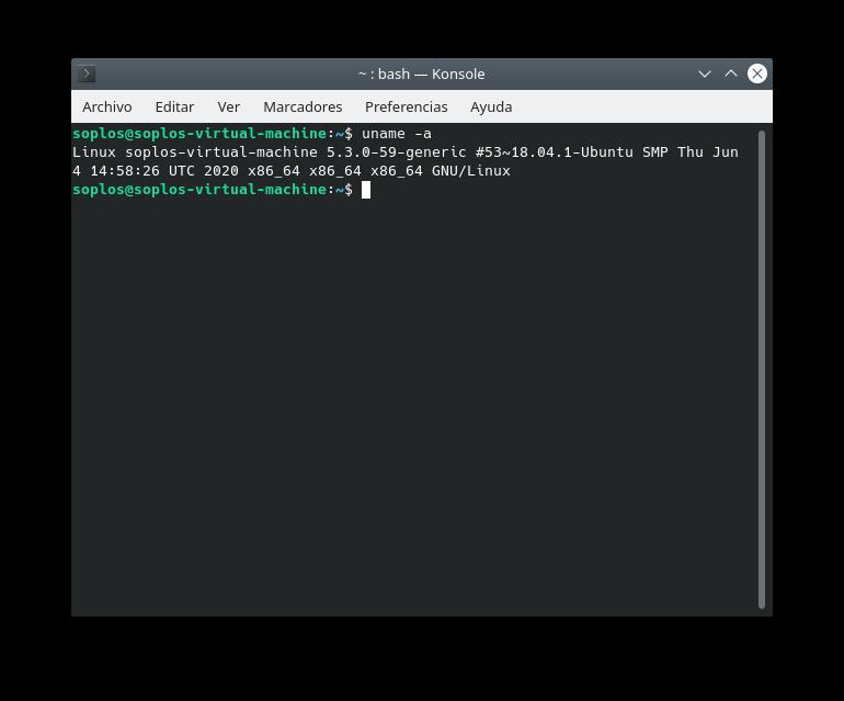 Versión de kernel de KDE Neon
