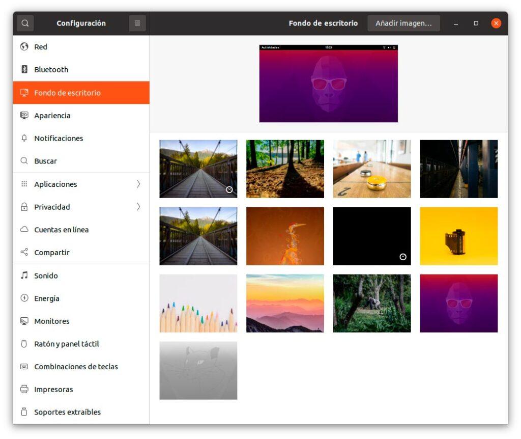 Fondos de pantalla provisionales en Ubuntu 20.10