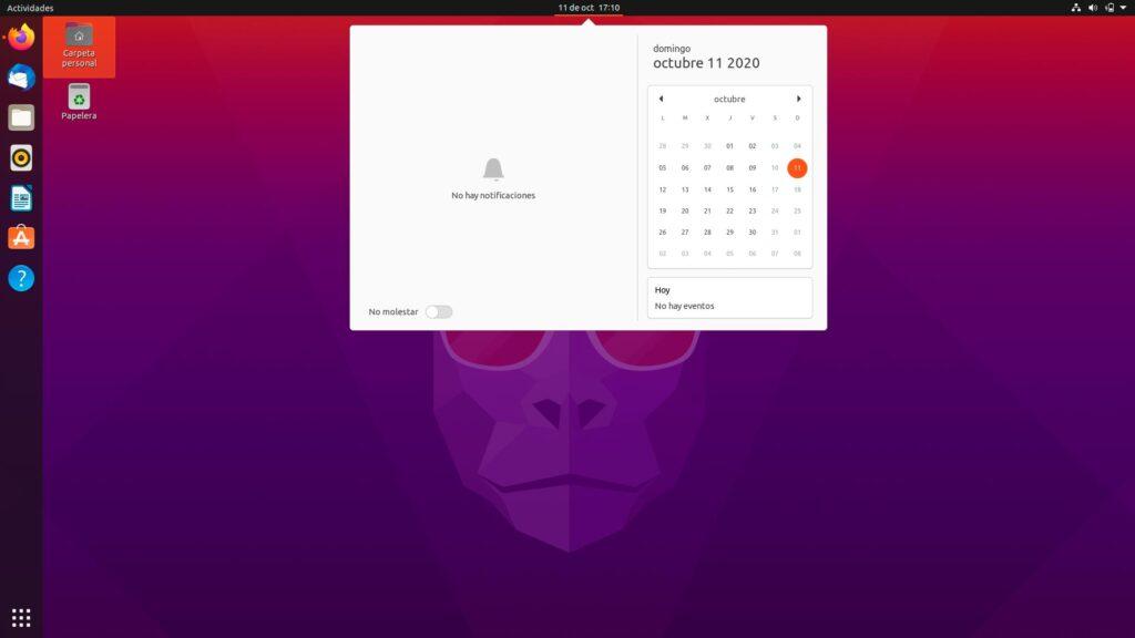 Centro de notificaciones de Ubuntu 20.10