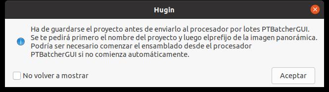 Advertencia para guardar el proyecto con Hugin